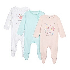 bluezoo - Pack of three baby girls  assorted printed sleepsuits