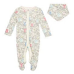 bluezoo - Baby girls' pale yellow printed sleepsuit with a bib