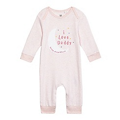 bluezoo - Baby girls' pink 'I love daddy' moon applique sleepsuit