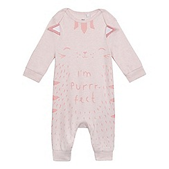 bluezoo - Baby girls' pink cat print sleepsuit