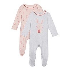bluezoo - Pack of two baby girls' pink and grey bunny print sleepsuits