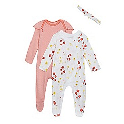 bluezoo - Pack of two baby girls' multi-coloured floral print sleepsuits with a headband