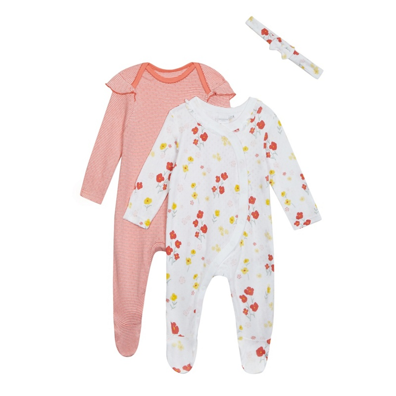 Bluezoo Pack of Two Baby Girls Multi-Coloured Floral Print