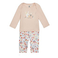 bluezoo - Baby girls' multi-coloured bunny print pyjama top and bottoms set