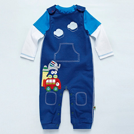 bluezoo - Babies blue vehicle dungaree set