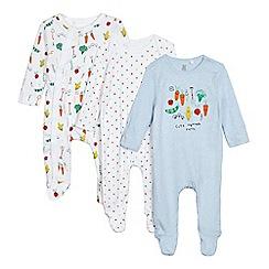 bluezoo - Baby boys' pack of three vegetable print sleepsuits