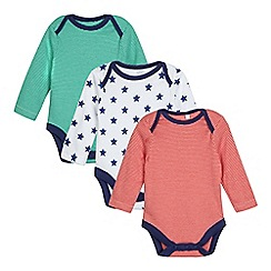 bluezoo - Pack of three baby boys' assorted striped and star print bodysuits