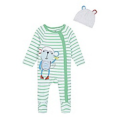 bluezoo - Baby boys' white and green monkey applique sleepsuit and hat set