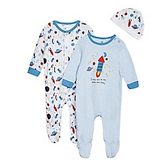 bluezoo - Baby boys' pack of two blue space print sleepsuit and hat