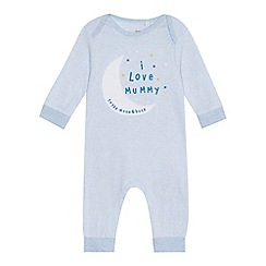 bluezoo - Baby boys' light blue 'I love mummy' applique sleepsuit