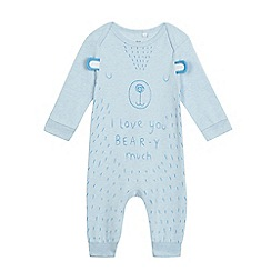 bluezoo - Baby boys' light blue bear print sleepsuit