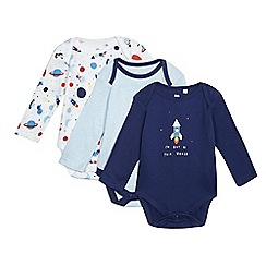 bluezoo - Pack of three baby boys' assorted printed bodysuits
