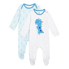 bluezoo - Pack of two baby boys' blue and grey dinosaur print sleepsuits