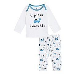 bluezoo - Baby boys' white 'Captain Adorable' print pyjama set