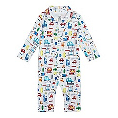 bluezoo - Baby boys' white vehicle print romper suit