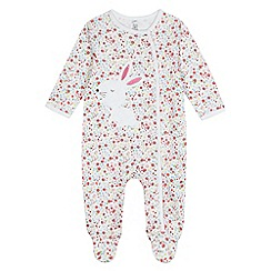 bluezoo - Baby girls' bunny applique sleepsuit