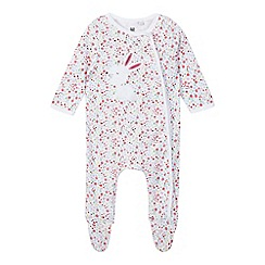 bluezoo - Baby girls' multi-coloured bunny applique sleepsuit