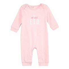 bluezoo - Baby girls' pink 'my first Eid' sleepsuit