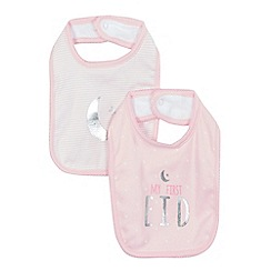 bluezoo - Pack of two baby girls' pink bibs
