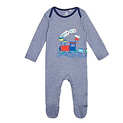 bluezoo - Baby boys' navy train applique sleepsuit