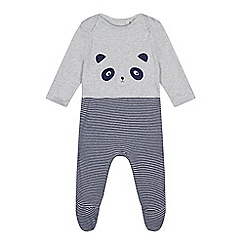 bluezoo - Baby boys' grey panda applique sleepsuit