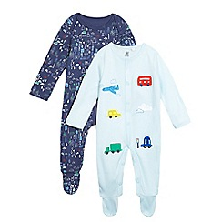 bluezoo - Pack of two baby boys' blue printed sleepsuits