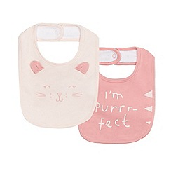 bluezoo - Pack of two baby girls' pink printed bibs