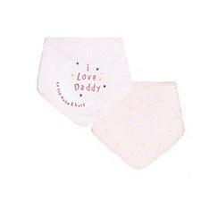 bluezoo - Pack of two baby girls' pink star print and 'I love daddy' applique bibs