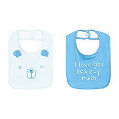 bluezoo - Pack of two baby boys' blue bear print bibs