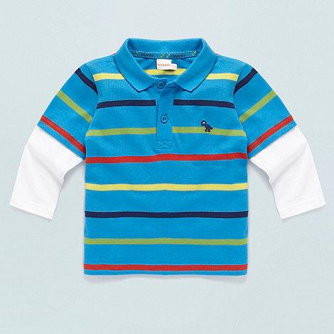 bluezoo - Babies blue striped mock dual sleeve polo shirt