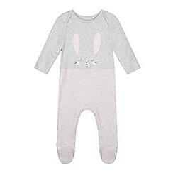 bluezoo - Baby girls' grey bunny applique sleepsuit