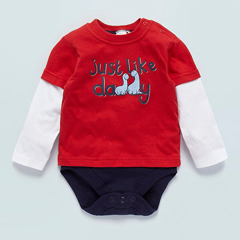 bluezoo - Babies red two in one dinosaur top and bodysuit