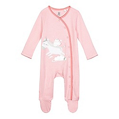 bluezoo - Baby girls' pink unicorn applique sleepsuit
