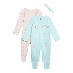 bluezoo - Pack of two baby girls' assorted sleepsuits with a headband