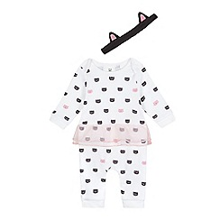 bluezoo - Baby girls' white Halloween print sleepsuit
