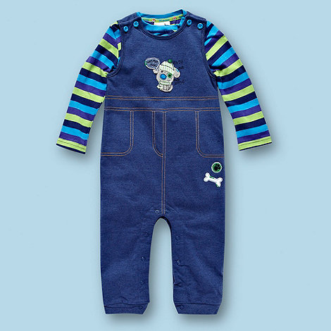 bluezoo - Babies blue soft dungarees and top set