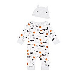 bluezoo - Baby boys' white Halloween print sleepsuit