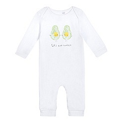 bluezoo - Babies' white slogan print sleep suit