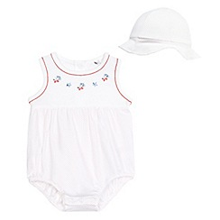 J by Jasper Conran - Baby girls' white dot print romper and hat set