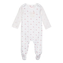 J by Jasper Conran - Baby girls' white and pink floral dungarees and striped print bodysuit set