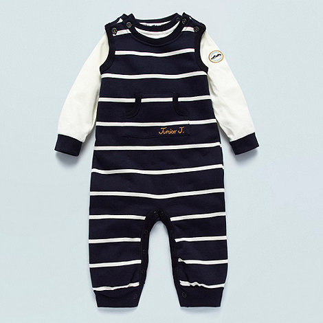 J by Jasper Conran - Designer Babies navy striped soft dungaree set