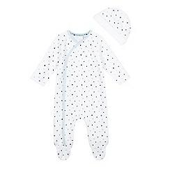 J by Jasper Conran - Baby boys' white star print velour sleepsuit