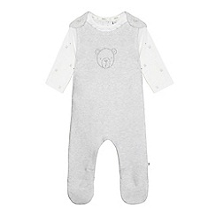 J by Jasper Conran - Babies white knitted bear print dungarees set