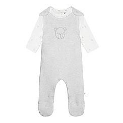 J by Jasper Conran - Babies white knitted bear print dungarees set