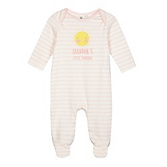 bluezoo - Baby girls' pink striped print 'Grandma's Little Sunshine' sleepsuit