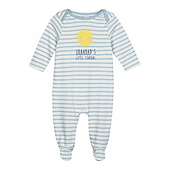 bluezoo - Baby boys' blue striped print 'Grandad's Little Sunshine' sleepsuit