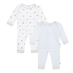 J by Jasper Conran - Pack of two baby boys' blue patterned sleep top and bottoms set