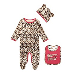 bluezoo - Baby girls' leopard print sleepsuit, hat and bib set