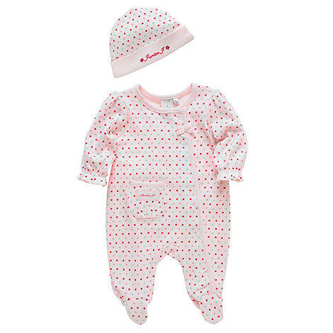 J by Jasper Conran - Designer Babies pink spot baby grow with hat