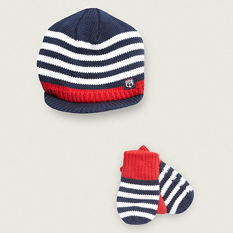 J by Jasper Conran - Designer Babies navy striped hat and mittens